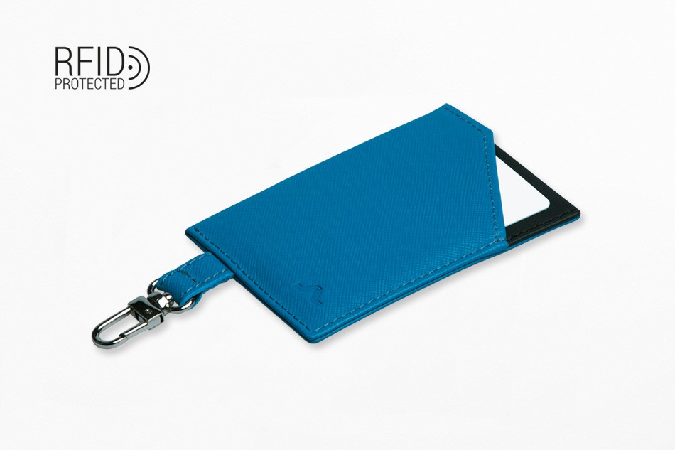 Cartera de piel ROIK Cards and Keys Blue Wave