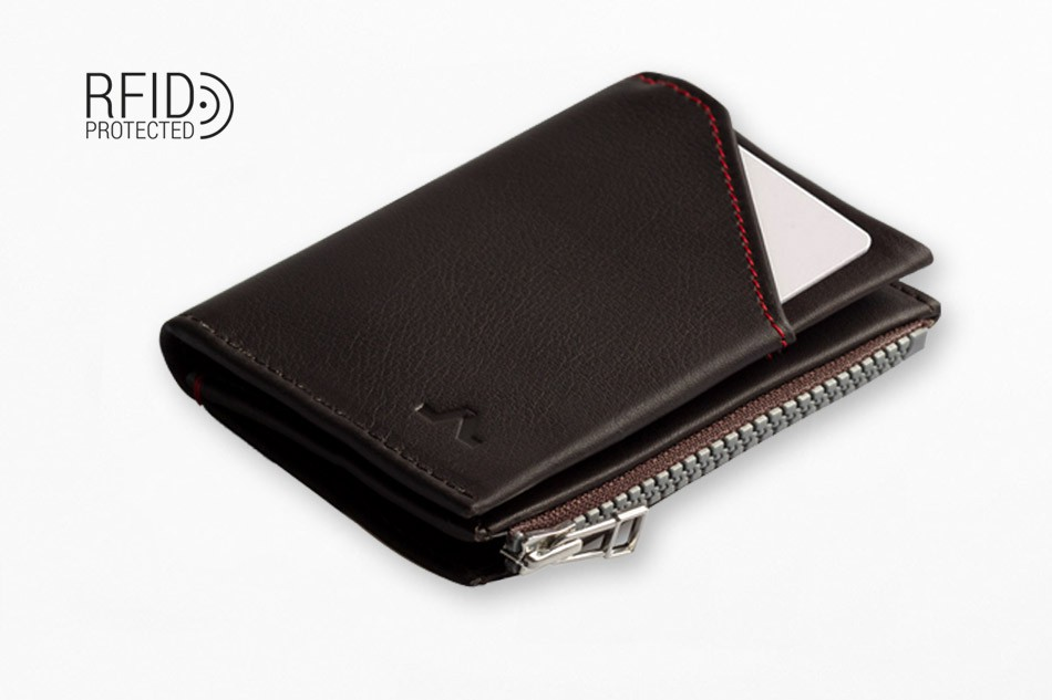 Cartera de piel Roik Zip Coin Dark Brown