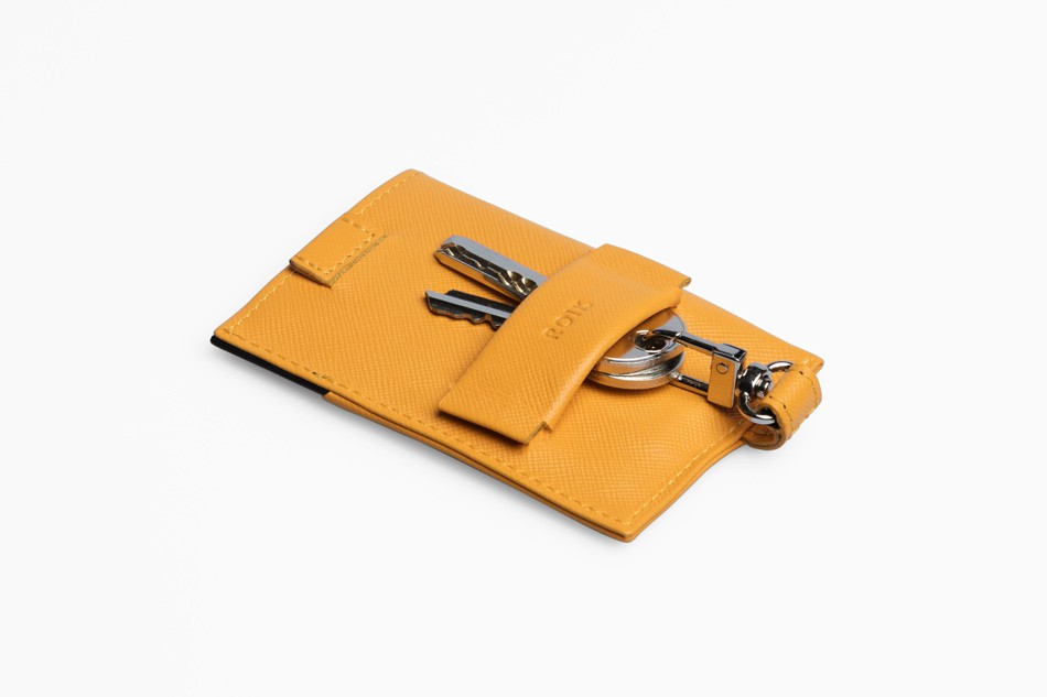 Cartera de piel ROIK Cards and Keys Signal Yellow