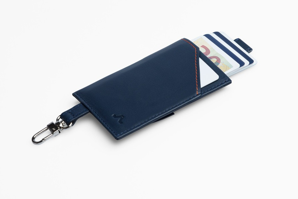 Cartera de piel ROIK Cards and Keys Blue Navy
