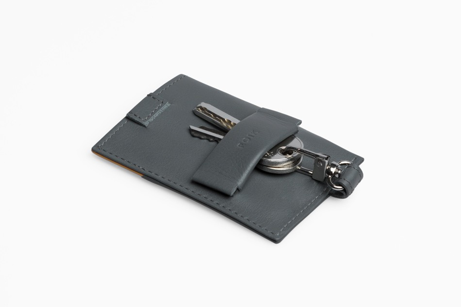 Cartera de piel ROIK Cards and Keys Grey Canary