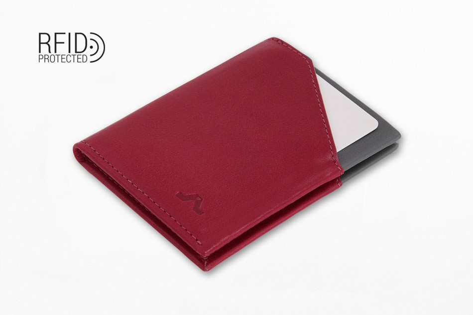 Cartera de piel ROIK City Burgundy