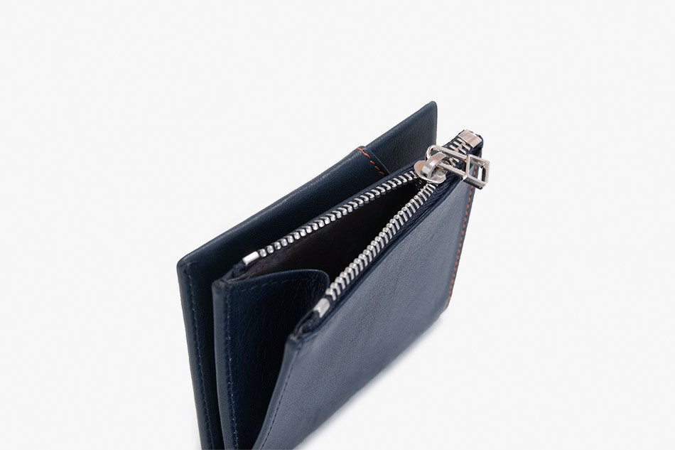 Cartera de piel Roik Zip Coin Blue Navy