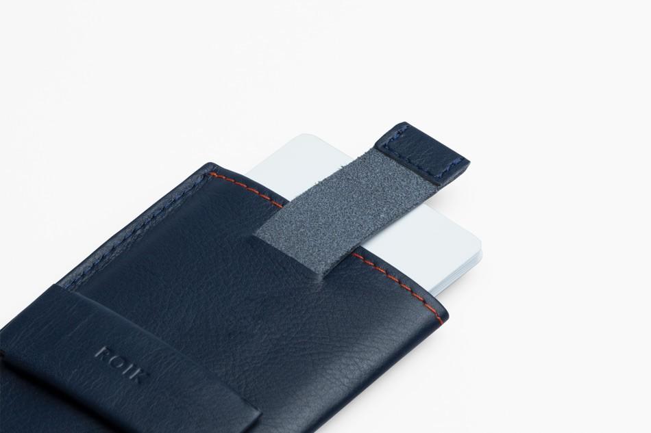 Cartera de piel ROIK Cards and Keys Blue Navy
