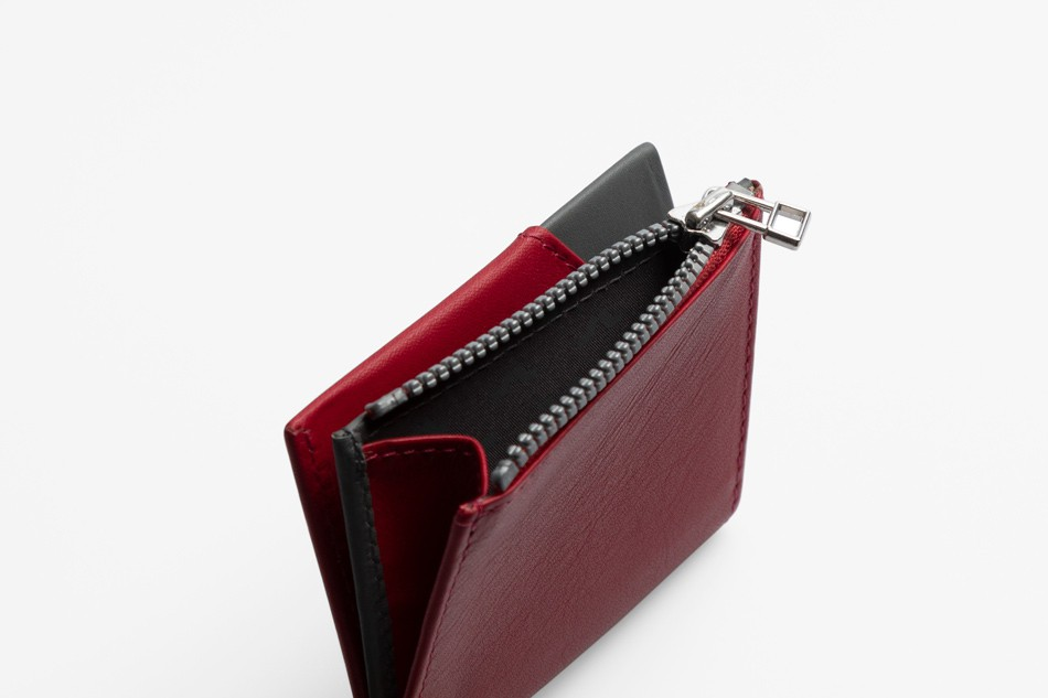 Cartera de piel Roik Zip Coin Burgundy