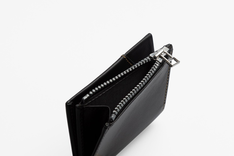 Cartera de piel Roik Zip Coin Black