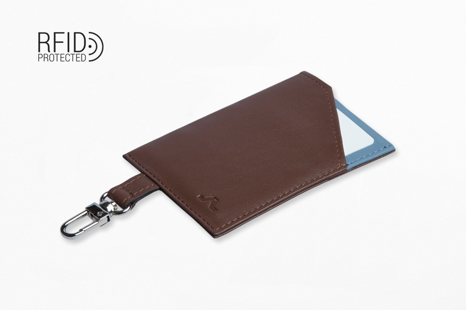 Cartera de piel ROIK Cards and Keys Brown