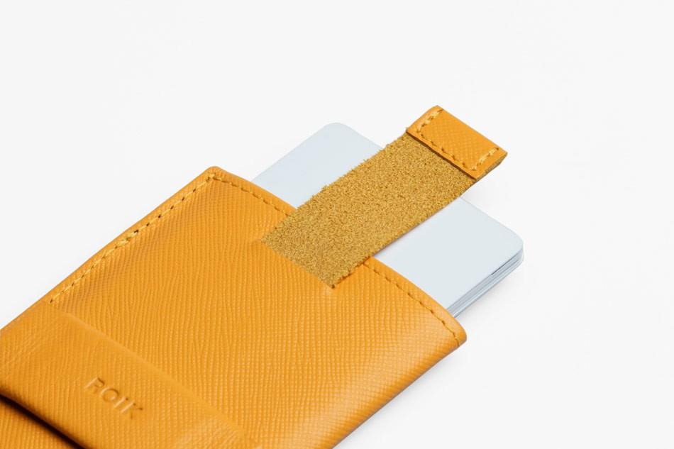 Cartera de piel ROIK Cards and Keys Signal Yellow
